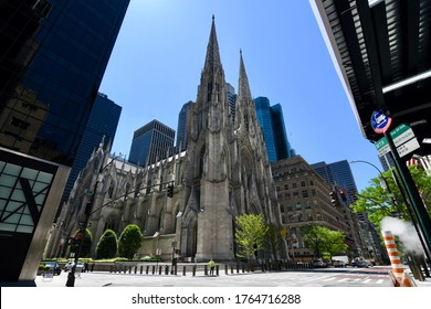 New York City/USA - June 8, 2020: The Cathedral of St. Patrick, New York City, USA.
