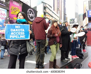 New York City/USA March 13 2017: No Dakota Access Pipeline: Demonstrators in Times Square protest the controversial Dakota Access Pipeline.