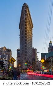 New York City/USA - November 6th 2016: Flatiron Building at dusk, Famous Building in Manhattan