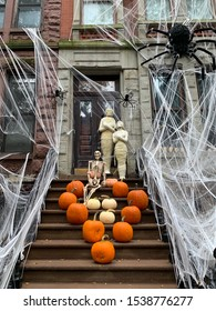 New York City/USA - October 22, 2019: Halloween decorations, Upper West Side,