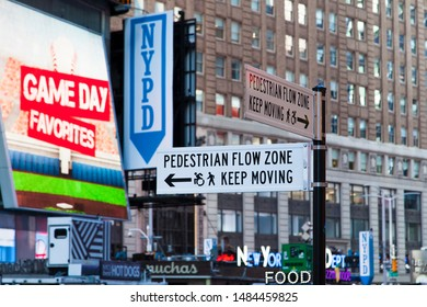 New York City/USA - October 7 2016: Pedestrian Flow Zone Street Sign in Times Square Midtown Manhattan.