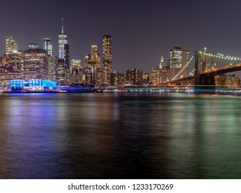 New York, New York City/USA- SEP 5 2018 The Gorgeous Brooklyn Bridge and Manhattan Skycraper beautifully lit at night