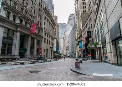 New York City/USA - September 2, 2019: Ground Level View Of The Streets Of Lower Manhattan In NYC With Architecture In The Financial District.