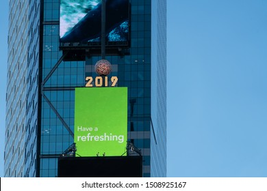 New York City/USA - September 3, 2019: Closeup View Of Bright Neon Electronic Sign Just Below The New Year's Ball Drop. This Big Times Square New Year's Eve Ball is now a year-round attraction.