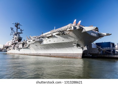 New York City-USA,October 7, 2016:  Intrepid Sea, Air and Space Museum. It is one of America`s leading historic and educational institucions and is opened since1982 and is centered on the aircraft car