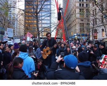 NEW YORK - DEC 1: Stephan Jenkins of the band Third Eye Blind performs in Zuccotti Park, on December 1, 2011 in New York City. The concert was in support of the Occupy Wall Street protest.
