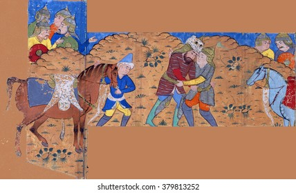 NEW YORK - DEC 12, 2015 - Rustam wrestles with Suhrab, Persian miniature from the Shahnamah, Book of Kings