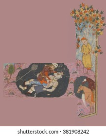 NEW YORK - DEC 12, 2015 - Rustam's Seventh Feat: he kills the white d�®v., Persian miniature from the Shahnamah, Book of Kings