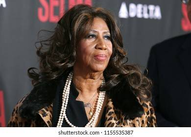 "NEW YORK - DEC 14, 2014: Aretha Franklin attends the premiere of ""Selma"" at the Ziegfeld Theatre on December 14, 2014 in New York City."