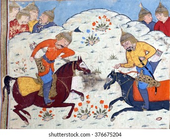 NEW YORK - DEC 14, 2015 - A third episode in the battle between the armies of Faramarz and Mihark, Persian miniature from the Shahnamah