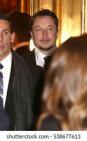 NEW YORK - DEC 14, 2016:  Tesla CEO Elon Musk is seen in the lobby of Trump Tower on December 14, 2016, in New York.