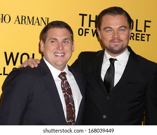 "NEW YORK - DEC 17: Jonah Hill and Leonardo DiCaprio attend the premiere of ""The Wolf Of Wall Street"" at the Ziegfeld Theater on December 17, 2013 in New York City."