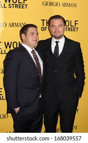"""NEW YORK - DEC 17: Jonah Hill and Leonardo DiCaprio attend the premiere of """"The Wolf Of Wall Street"""" at the Ziegfeld Theater on December 17, 2013 in New York City."""