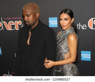 "NEW YORK - DEC 3, 2018: Kanye West and Kim Kardashian West attend the Broadway opening night of ""The Cher Show"" on December 3, 2018, in New York City."
