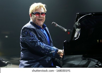 NEW YORK - DEC 3: Sir Elton John performs in concert at Madison Square Garden on December 3, 2013 in New York City.