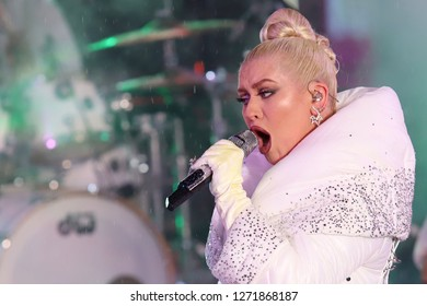 NEW YORK - DEC 31, 2018: Christina Aguilera performs during the New Year's Eve celebrations in Times Square on December 31, 2018 in New York.