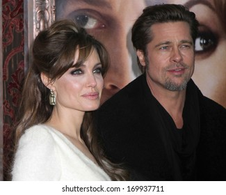 "NEW YORK - DEC 6: Angelina Jolie and Brad Pitt attend the premiere of ""The Tourist"" at the Ziegfeld Theater on December 6, 2010 in New York City."