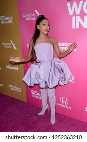 NEW YORK - DEC 6: Ariana Grande attends Billboard's 13th Annual Women in Music event on December 6, 2018 at Pier 36 in New York City.