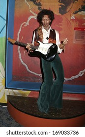 NEW YORK - Dec 6: A wax figure of Jimi Hendrix is seen on display at Madame Tussauds on December 6, 2013 in New York City.