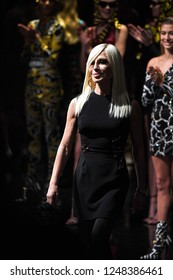 NEW YORK, NEW YORK - DECEMBER 02: Donatella Versace walks the runway at the Versace Pre-Fall 2019 Collection at The American Stock Exchange on December 02, 2018 in New York City.