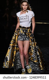 NEW YORK, NEW YORK - DECEMBER 02: Gigi Hadid walks the runway at the Versace Pre-Fall 2019 Collection at The American Stock Exchange on December 02, 2018 in New York City.