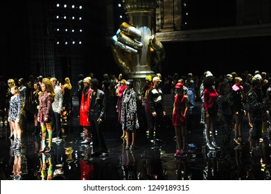 NEW YORK, NEW YORK - DECEMBER 02: Models walk the runway finale during the Versace Pre-Fall 2019 Collection at The American Stock Exchange on December 02, 2018 in New York City.