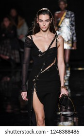 NEW YORK, NEW YORK - DECEMBER 02: Vittoria Ceretti walks the runway at the Versace Pre-Fall 2019 Collection at The American Stock Exchange on December 02, 2018 in New York City.