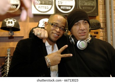 NEW YORK - DECEMBER 1 - ESPN anchor Stuart Scott and DJ Kid Capri at the New Era launch party for Johnny Nunez Limited Edition 59FIFTY CAP at the New Era Flagship store in New York on December 1, 2010.