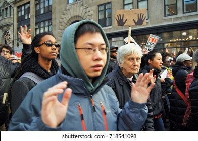 New York - December 12, 2014: People of all races and ages round up for the Black Lives Matter protest