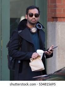 NEW YORK - December 12, 2016: Aziz Ansari seen in TriBeCa on December 12, 2016 in New York City.