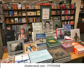 New York, December 12, 2017: Various titles are put on display in Barnes and Noble.