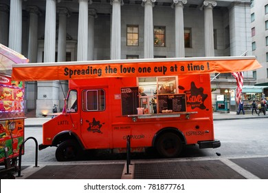 NEW YORK - DECEMBER 12, 2017: NYC love street coffee food truck in Midtown Manhattan. There are about 4,000 mobile food vendors licensed by the city