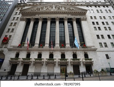 NEW YORK - DECEMBER 12, 2017: The New York Stock Exchange in Manhattan. It is by far the world's largest stock exchange by market capitalization of its listed companies