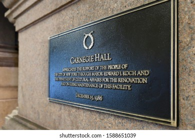 NEW YORK - DECEMBER 13, 2019: CARNEGIE HALL sign plaque at building exterior