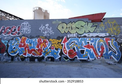 NEW YORK - DECEMBER 15, 2015: Graffiti art at East Williamsburg in Brooklyn. Outdoor art gallery known as the Bushwick Collective has most diverse collection of street art in Brooklyn