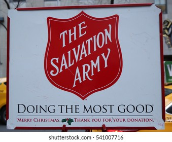 NEW YORK - DECEMBER 15, 2016: Salvation Army sign in midtown Manhattan. This Christian organization is known for its charity work, operating in 126 countries