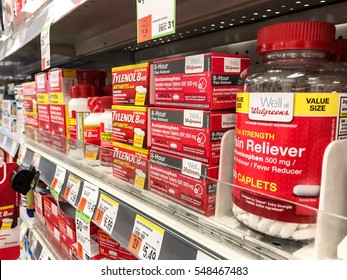 New York, December 15, 2016: Drug store shelf is seen filled with tylenol and other pain relievers.