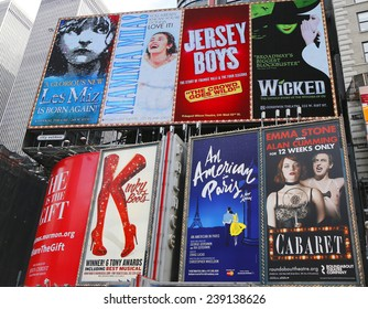 NEW YORK - DECEMBER 18: Broadway signs in Manhattan on December 18, 2014. With over 40 prominent theater houses, Broadway theater is considered one of the world's highest levels of commercial theater