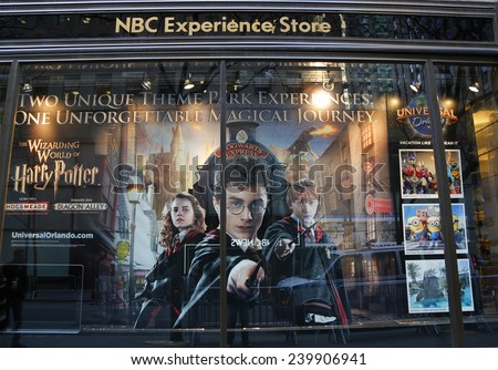 f77b93195c7 NEW YORK - DECEMBER 18  NBC Experience Store window display decorated with  Universal Orlando newest