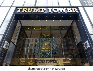 NEW YORK, NEW YORK - DECEMBER 19:  Entrance to Trump Tower on 56th street and 5th avenue in Manhattan.  Taken December 19, 2016 in New York City.