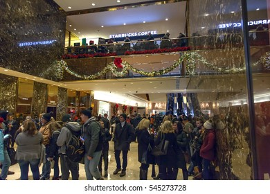NEW YORK, NEW YORK - DECEMBER 19:  People visit Trump Tower on 56th street and 5th avenue in Manhattan.  Taken December 19, 2016 in New York City.