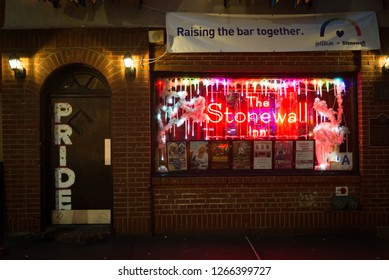 NEW YORK- December 22 2018: The Stonewall Inn, site of the 1969 riots on Christopher St. President Obama designated the area around the iconic bar as the country