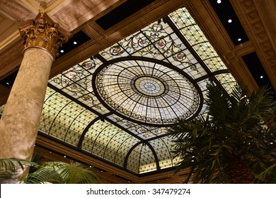 New York - December 25, 2014: Ceiling of the Plaza Hotel in New York, NY. Built in 1907, the luxury hotel was accorded landmark status in 1969.