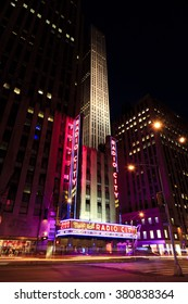NEW YORK, NEW YORK - DECEMBER 25, 2014: Radio City Music Hall at night in New York during the holidays.