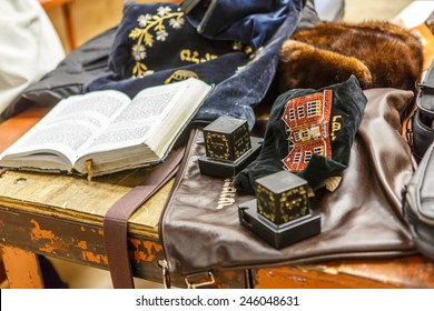 NEW YORK - DECEMBER 26: Jewish ritual items called Tefillin and prayer book in the famous 770 Chabad Lubavitch headquarter and home to last Chabad leader Menachem Mendel Schneerson on December 26 2014