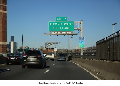 NEW YORK - DECEMBER 27, 2016: Franklin D. Roosevelt East River Drive in Manhattan. The FDR Drive is freeway-standard parkway on the east side of the New York City borough of Manhattan