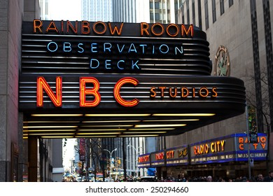 NEW YORK - DECEMBER 27:  Neon sign outside NBC Studios on December 27, 2014 in New York.