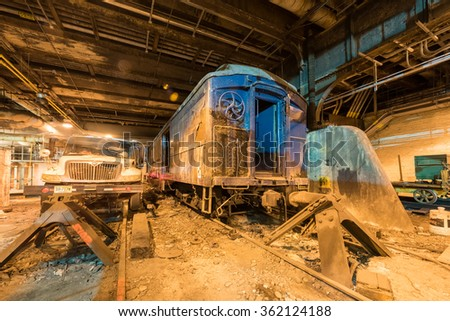 New York - December 28, 2015: Track 61 in Grand Central Station with a specially built train car that held FDR's specially designed armored Pierce-Arrow limousine. Preserved from 1945.