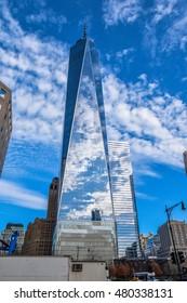 NEW YORK - DECEMBER 28: One World Trade Center (Freedom Tower). Taken in December 28, 2015 in Manhattan, New York, USA.