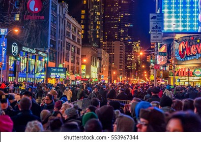 NEW YORK, NEW YORK - DECEMBER 31, 2013: New York Street Before New Years Eve. People Waiting Ball Drop.